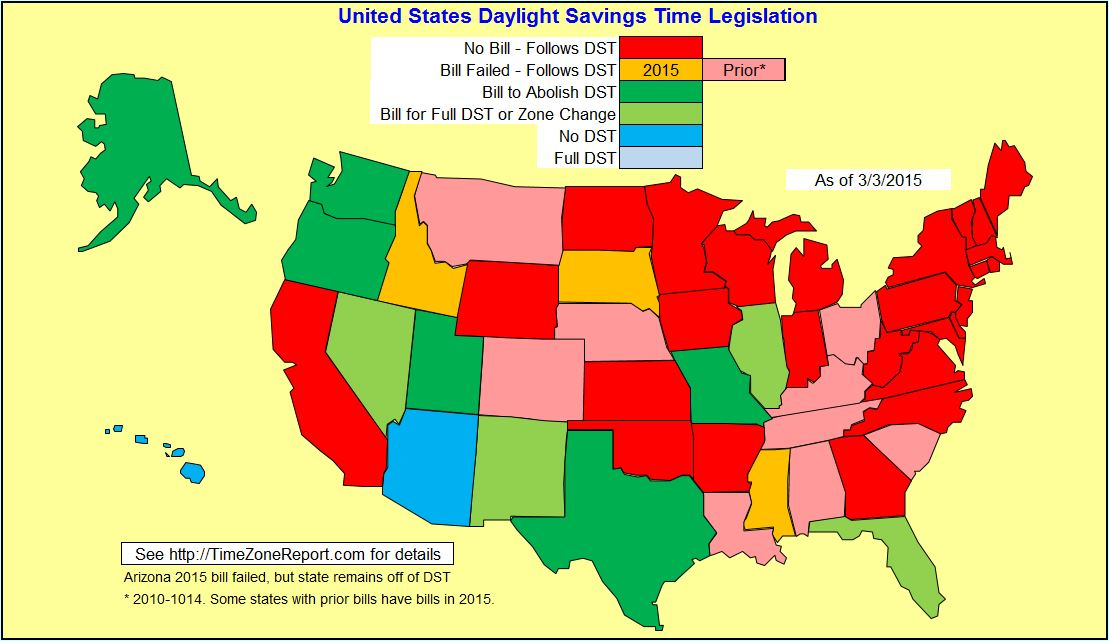 Daylight Saving Time Starts Sunday In The US Get More Sleep - Us daylight savings map